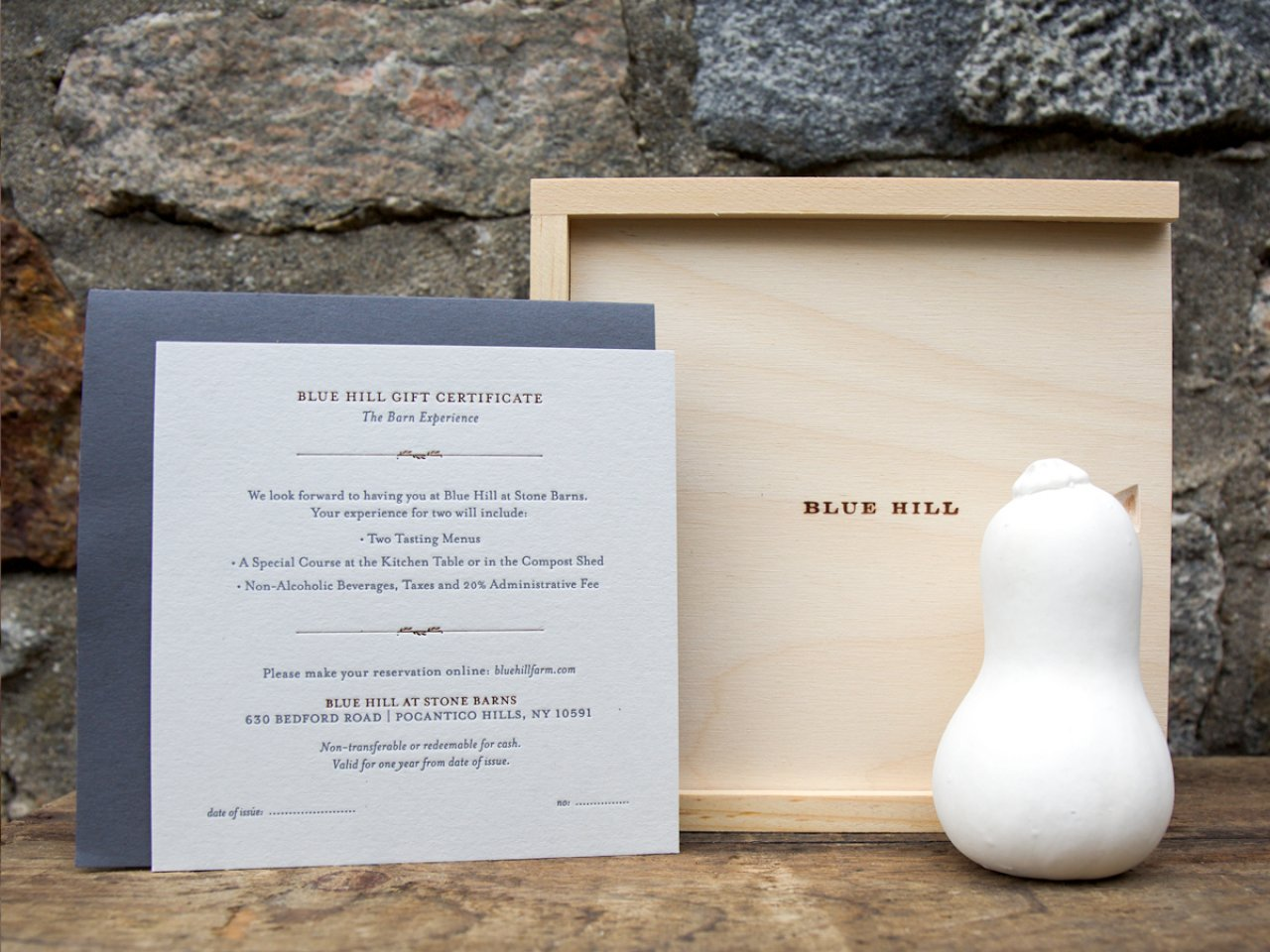 Blue Hill at Stone Barns Curated Experience Certificates (range from $688 to $1,258)
