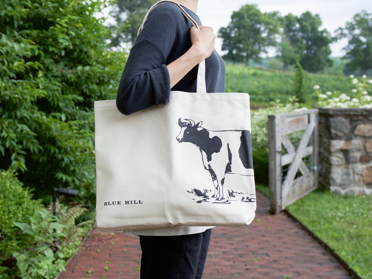 Blue Hill Canvas Cow Totes